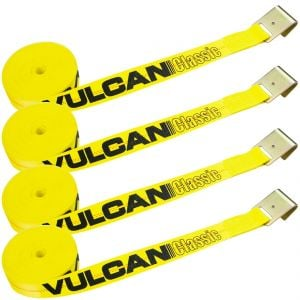 VULCAN Winch Strap with Flat Hook - 2 Inch x 30 Foot, 4 Pack - Classic Yellow - 3,300 Pound Safe Working Load