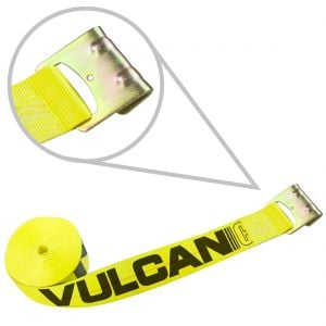 "VULCAN Classic Yellow 3"" Winch Straps With Flat Hooks - 10 Pack"