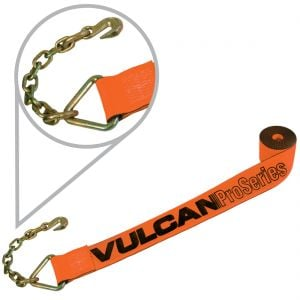 VULCAN PROSeries Heavy Duty Winch Strap With Chain Anchor (4'' x 30')
