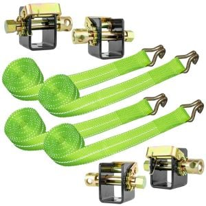 VULCAN Lashing Winch and Winch Strap Kit - 2 Inch - High-Viz - 3,300 Pound Safe Working Load