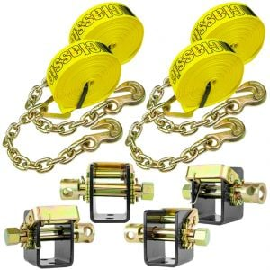 VULCAN Lashing Winch and Chain Anchor Winch Strap Kit - 2 Inch - 3,300 Pound Safe Working Load