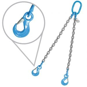 Grade 120 Double Leg Overhead Lifting Slings With Oblong Master Ring And Sling Hooks