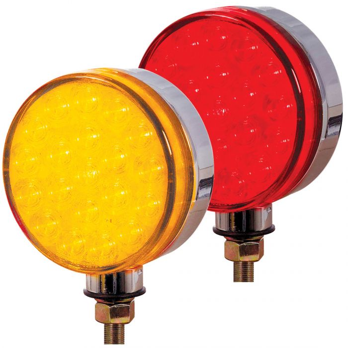 Red//Amber Lollipop Style 4 Round LED Pedestal Lights