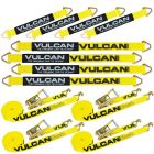 "VULCAN Complete Axle Strap Tie Down Kit with Wire Hook Ratchet Straps - Classic Yellow - Includes (4) 22"" Axle Straps, (4) 36"" Axle Straps, and (4) 15' Wire J Hook Ratchet Straps"