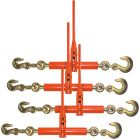 Scratch and Dent VULCAN Load Binder - Grab and Slip Hooks, 4 Pack - Ratchet Style - 6,600 Pound Safe Working Load (Works with 5/16 Inch or 3/8 Inch Grade 70 Chain)