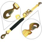 VULCAN Classic Yellow Series 2'' Snap Hook Car Tie Downs with Flat Snap Hook Ratchet (72'' or 96'') Safe Working Load - 3300 lbs.