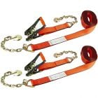 VULCAN Ratchet Strap with Chain Anchors - 2 Inch x 27 Foot, 2 Pack - PROSeries - 3,300 Pound Safe Working Load