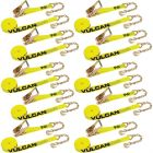 VULCAN Ratchet Strap with Chain Anchors - 2 Inch x 27 Foot, 10 Pack - Classic Yellow - 3,300 Pound Safe Working Load