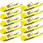 VULCAN Ratchet Strap with Wire Hooks - 2 Inch x 27 Foot, 10 Pack - Classic Yellow - 3,300 Pound Safe Working Load