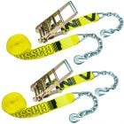 VULCAN Ratchet Strap with Chain Anchors - 3 Inch x 30 Foot, 2 Pack - Classic Yellow - 5,000 Pound Safe Working Load