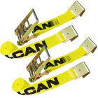 VULCAN Ratchet Strap with Flat Hooks - 4 Inch x 27 Foot, 2 Pack - Classic Yellow - 5,400 Pound Safe Working Load