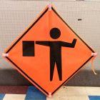 Scratch And Dent Flagger Ahead (Symbol) Road Sign – Mesh