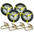 VULCAN Car Tie Down with Chain Anchors - Lasso Style - 2 Inch x 96 Inch, 4 Pack - Classic Yellow - 3,300 Pound Safe Working Load