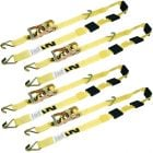 VULCAN Autohauler Car Tie Down with J Hooks - Sliding Idler 3-Cleat - 120 Inch, 4 Pack - Classic Yellow - 1,600 Pound Safe Working Load