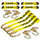 VULCAN 8-Point Roll Back Vehicle Tie Down Kit with Chain Tails On Both Ends, Set of 4 - Classic Yellow