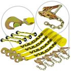 VULCAN 8-Point Roll Back Vehicle Tie Down Kit with Snap Hook On Strap Ends and Chain Tail On Ratchet Ends, Set of 4 - Classic Yellow