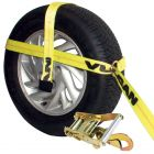 VULCAN Classic Yellow Adjustable Loop Car Tie Down Kits with Snap Hooks