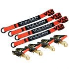 VULCAN Wheel Tie Down Kit with Snap Hook Ratchets, 4 Pack - PROSeries - 3,300 Pound Safe Working Load