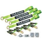 VULCAN Exotic Car Rim Tie Down Set with Flush Mount Pan Fittings - 2 Inch x 144 Inch, 4 Straps - High-Viz - 3,300 Pound Safe Working Load