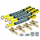 VULCAN Exotic Car Rim Tie Down Set with Flush Mount Pan Fittings - 2 Inch x 144 Inch, 4 Straps - Classic Yellow - 3,300 Pound Safe Working Load