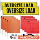 VULCAN Flags, Oversize Load Banners, and Magnets Kit - Includes 2 Stretch Cord Oversize Load Banners, 4 Magnets, 4 Red Flags, 4 Orange Flags, and a High-Viz Vented Storage Bag