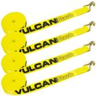 VULCAN Winch Strap with Wire Hook - 2 Inch x 30 Foot, 4 Pack - Classic Yellow - 3,300 Pound Safe Working Load